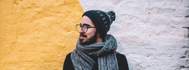man hat scarf cozy student